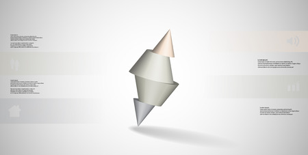 3D illustration infographic template with motif of sliced spiked cone to four color parts and askew arranged. Simple sign and text is in color banners. Background is light grey. Illustration
