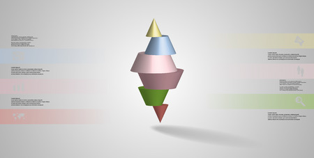 3D illustration infographic template with motif of horizontally sliced spiked cone to six color parts stands on top. Simple sign and text is in color banners. Background is light grey.