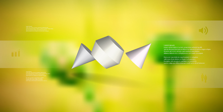 3D illustration infographic template. The two spiked cone is divided to three color parts. Object is askew arranged on blurred photo background. Color bars with simple sign are on sides.