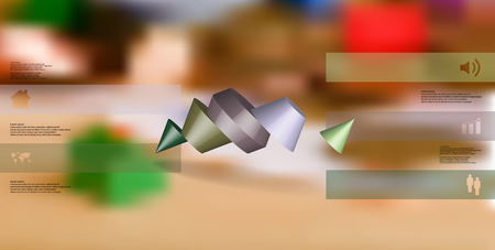 3D illustration infographic template. The two spiked cone is divided to five color parts. Object is askew arranged on blurred photo background. Color bars with simple sign are on sides.
