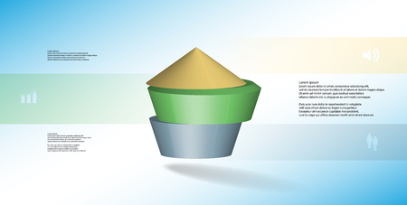 3D illustration infographic template. The round pentagon is divided to three color parts. Object is arranged on blue  white background. Color bars with simple signs are on sides.