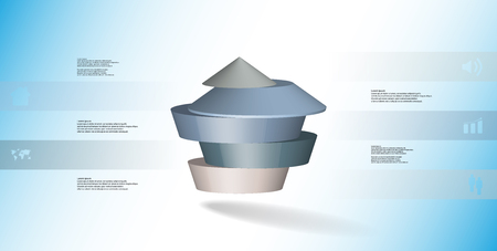 3D illustration infographic template. The round pentagon is divided to five color parts. Object is arranged on blue  white background. Color bars with simple signs are on sides. Illustration