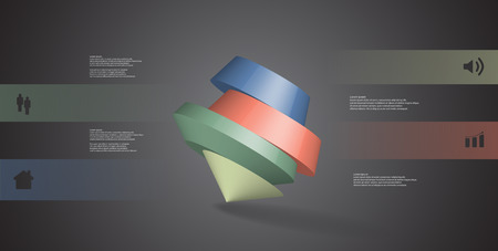3D illustration infographic template. The round pentagon is divided to four color parts. Object is askew arranged on grey black background. Color bars with simple signs are on sides.