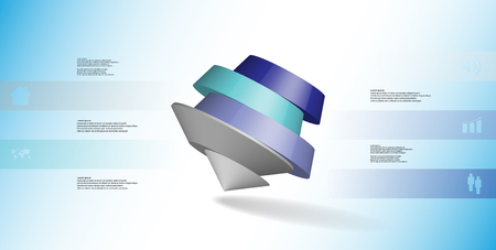 3D illustration infographic template. The round pentagon is divided to five color parts. Object is askew arranged on blue white background. Color bars with simple signs are on sides.