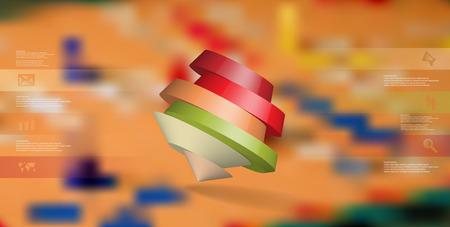 3D illustration infographic template. The round pentagon is divided to six color parts. Object is askew arranged on blurred photo background. Color bars with simple signs are on sides. Illustration