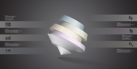 3D illustration infographic template. The round pentagon is divided to six color parts. Object is askew arranged on grey black background. Color bars with simple signs are on sides.