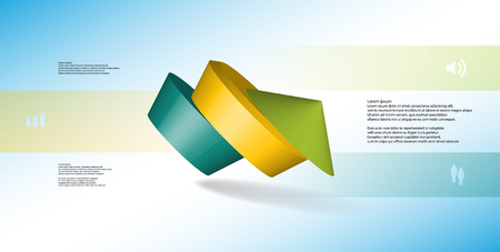 3D illustration infographic template. The round pentagon is divided to three color parts. Object is askew arranged on blue white background. Color bars with simple signs are on sides.