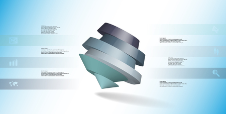 3D illustration infographic template. The round pentagon is divided to six color parts. Object is askew arranged on blue white background. Color bars with simple signs are on sides.