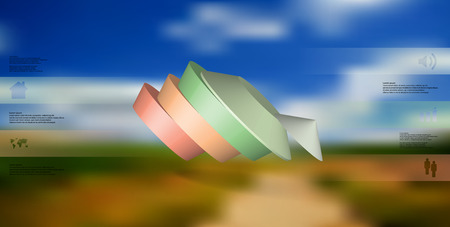 3D illustration infographic template. The round pentagon is divided to five color parts. Object is askew arranged on blurred photo background. Color bars with simple signs are on sides.