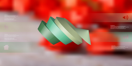 3D illustration infographic template. The round pentagon is divided to four color parts. Object is askew arranged on blurred photo background. Color bars with simple signs are on sides.