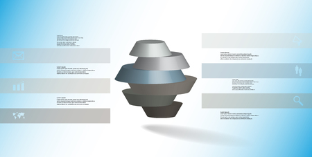 3D illustration infographic template. The round octagon is divided to six color parts. Object is arranged on blue white background. Color bars with simple signs are on sides.