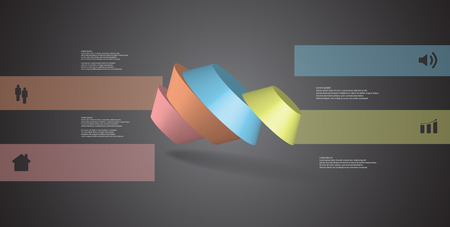 3D illustration infographic template. The round octagon is divided to four color parts. Object is askew spilled on grey black background. Color bars with simple signs are on sides.
