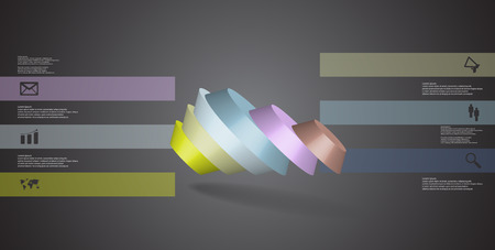 3D illustration infographic template. The round octagon is divided to six color parts. Object is askew spilled on grey black background. Color bars with simple signs are on sides.