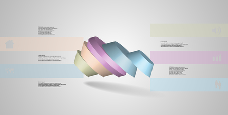 3D illustration infographic template. The round octagon is divided to five color parts. Object is askew spilled on grey white background. Color bars with simple signs are on sides.