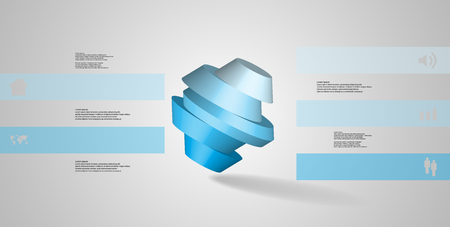 3D illustration infographic template. The round octagon is divided to five color parts. Object is askew arranged on grey white background. Color bars with simple signs are on sides. Illustration