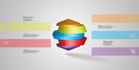 3D illustration infographic template. The round octagon is divided to five color parts. Object is placed on grey white background. Color bars with simple signs are on sides.