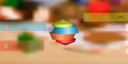 3D illustration infographic template. The round octagon is divided to four color parts. Object is placed on blurred photo background. Color bars with simple signs are on sides. Illustration
