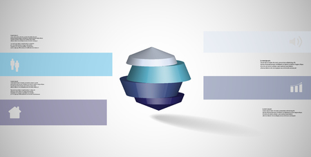 3D illustration infographic template. The round octagon is divided to four color parts. Object is placed on grey white background. Color bars with simple signs are on sides.