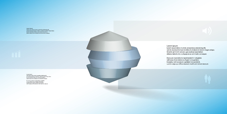 3D illustration infographic template. The round octagon is divided to three color parts. Object is placed on blue white background. Color bars with simple signs are on sides.