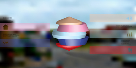 3D illustration infographic template. The round octagon is divided to five color parts. Object is placed on blurred photo background. Color bars with simple signs are on sides.