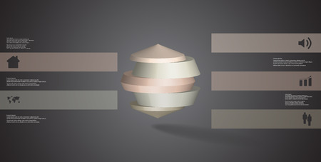 3D illustration infographic template. The round octagon is divided to five color parts. Object is placed on grey black background. Color bars with simple signs are on sides. Illustration