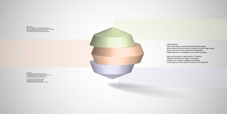 3D illustration infographic template. The round octagon is divided to three color parts. Object is placed on grey white background. Color bars with simple signs are on sides. Illustration