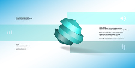 3D illustration infographic template. The round octagon is divided to three color parts. Object is askew arranged on blue white background. Color bars with simple signs are on sides. Stock Illustratie