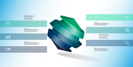 3D illustration infographic template. The round octagon is divided to six color parts. Object is askew arranged on blue white background. Color bars with simple signs are on sides.