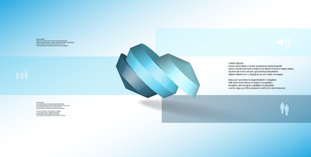 3D illustration infographic template. The round octagon is divided to three color parts. Object is askew arranged on blue white background. Color bars with simple signs are on sides. Illustration