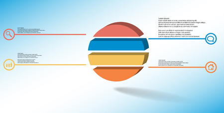 3D illustration infographic template. The embossed ring is divided to four color parts. Object is arranged on blue white background. Color lines with simple signs in circles are on sides.