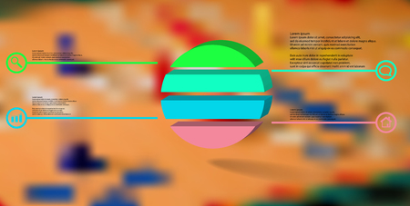 3D illustration infographic template. The embossed ring is divided to four color parts. Object is arranged on blurred photo background. Color lines with simple signs in circles are on sides. Illustration