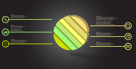 3D illustration infographic template. The embossed ring is askew divided to six color parts. Object is arranged on grey dark background. Color lines with simple signs in circles are on sides.