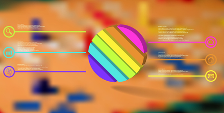 3D illustration infographic template. The embossed ring is askew divided to six color parts. Object is arranged on blurred photo background. Color lines with simple signs in circles are on sides. Illustration