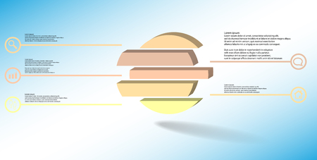 3D illustration infographic template. The embossed ring is divided to five color shifted parts. Object is arranged on blue white background. Color lines with simple signs in circles are on sides. Illustration
