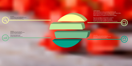 3D illustration infographic template. The embossed ring is divided to four color shifted parts. Object is arranged on blurred photo background. Color lines with simple signs in circles are on sides.