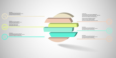 3D illustration infographic template. The embossed ring is divided to six color shifted parts. Object is arranged on grey white background. Color lines with simple signs in circles are on sides. Illustration