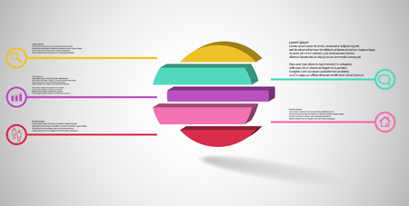 3D illustration infographic template. The embossed ring is divided to five color shifted parts. Object is arranged on grey white background. Color lines with simple signs in circles are on sides.