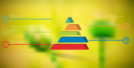 3D illustration infographic template. The embossed triangle is divided to five color shifted parts. Object is arranged on blurred photo background. Color lines with simple signs in circles are on sides.
