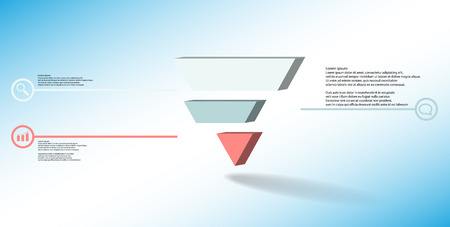 3D illustration infographic template. The embossed triangle is divided to three color shifted parts. Object is arranged on blue white background. Color lines with simple signs in circles are on sides. Vectores