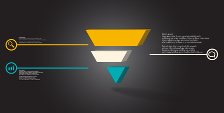 3D illustration infographic template. The embossed triangle is divided to three color shifted parts. Object is arranged on grey black background. Color lines with simple signs in circles are on sides. Illustration