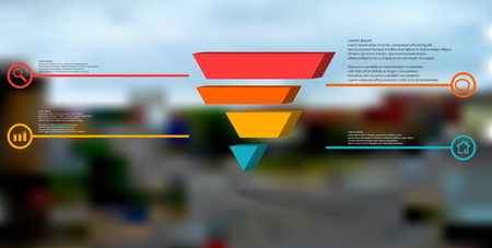 3D illustration infographic template. The embossed triangle is divided to four color shifted parts. Object is arranged on blurred photo background. Color lines with simple signs in circles are on sides. Illustration