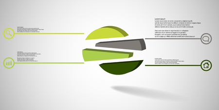 3D illustration infographic template. The embossed circle is randomly divided to four shifted color parts. Object is arranged on grey white background. Lines with signs in circles are on sides.