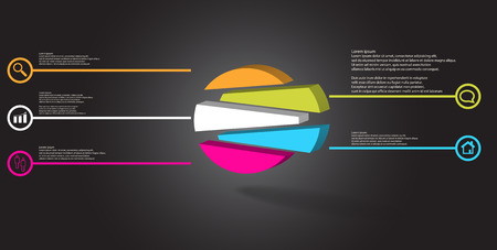 3D illustration infographic template. The embossed circle is randomly divided to five shifted color parts. Object is arranged on grey black background. Lines with signs in circles are on sides. Illustration