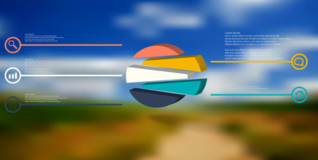3D illustration infographic template. The embossed circle is randomly divided to five shifted color parts. Object is arranged on blurred photo background. Lines with signs in circles are on sides.