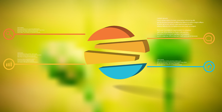 3D illustration infographic template. The embossed circle is randomly divided to four shifted color parts. Object is arranged on blurred photo background. Lines with signs in circles are on sides. Illustration