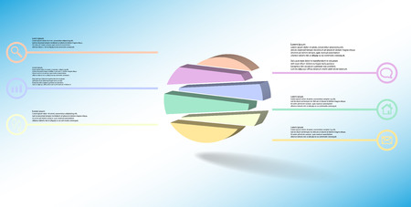 3D illustration infographic template. The embossed circle is randomly divided to six shifted color parts. Object is arranged on blue white background. Lines with signs in circles are on sides.