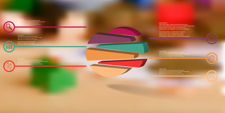 3D illustration infographic template. The embossed circle is randomly divided to six shifted color parts. Object is arranged on blurred photo background. Lines with signs in circles are on sides. Illustration