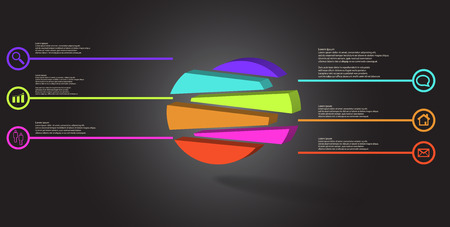 3D illustration infographic template. The embossed circle is randomly divided to six shifted color parts. Object is arranged on grey black background. Lines with signs in circles are on sides.