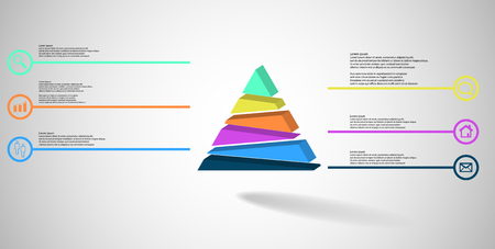 3D illustration infographic template. The embossed triangle is randomly divided to six color parts. Object is arranged on grey white background. Lines with signs in circles are on sides. 矢量图像