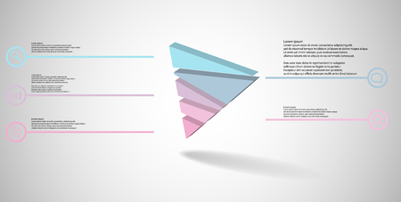 3D illustration infographic template. The embossed triangle is randomly divided to five color parts. Object is askew arranged on grey white background. Lines with signs in circles are on sides.